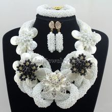Fabulous Nigerian Crystal Beads Necklace Jewelry Set Handmade White African Style Wedding Jewelry Set Free Shipping HD7508