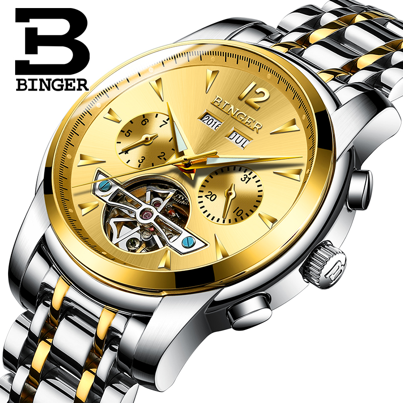2017 NEW BINGER men s font b watch b font full Calendar Tourbillon sapphire multiple functions