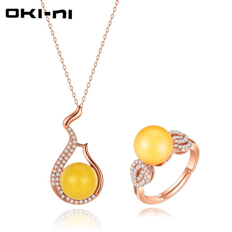 OKI NI Hot Sale Necklaces & Rings Set Sterling 925 Silver Jewelry Sets & More Rose Gold Pendant Christmas Gift For Women