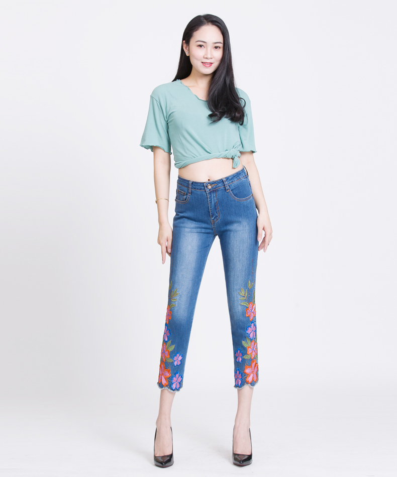 FERZIGE Women's Jeans High Waist Embroidered Floral Brand Summer Ankle Jean Ladies Pants Elastic