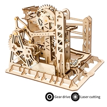 Robud DIY Lift Coaster Magic Gear Drive Ball Game Crash Wooden Model Building Kits Assembly Toy Gift for Children Adult LG503