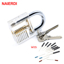 цена на NAIERDI Locksmith Tool Transparent Visible Cutaway Practice Padlock Lock Pick 2 In 1 Set With 12PCS Broken Key Removing Hooks