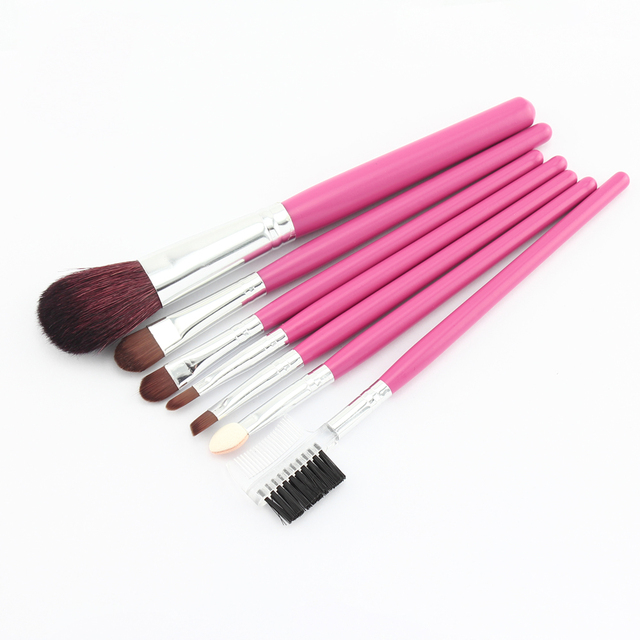 NEW 7 pcs make up Cosmetic Brush Set with soft roll-up pink case Makeup Brush Set Dropshipping [Retail] SKU:M0086