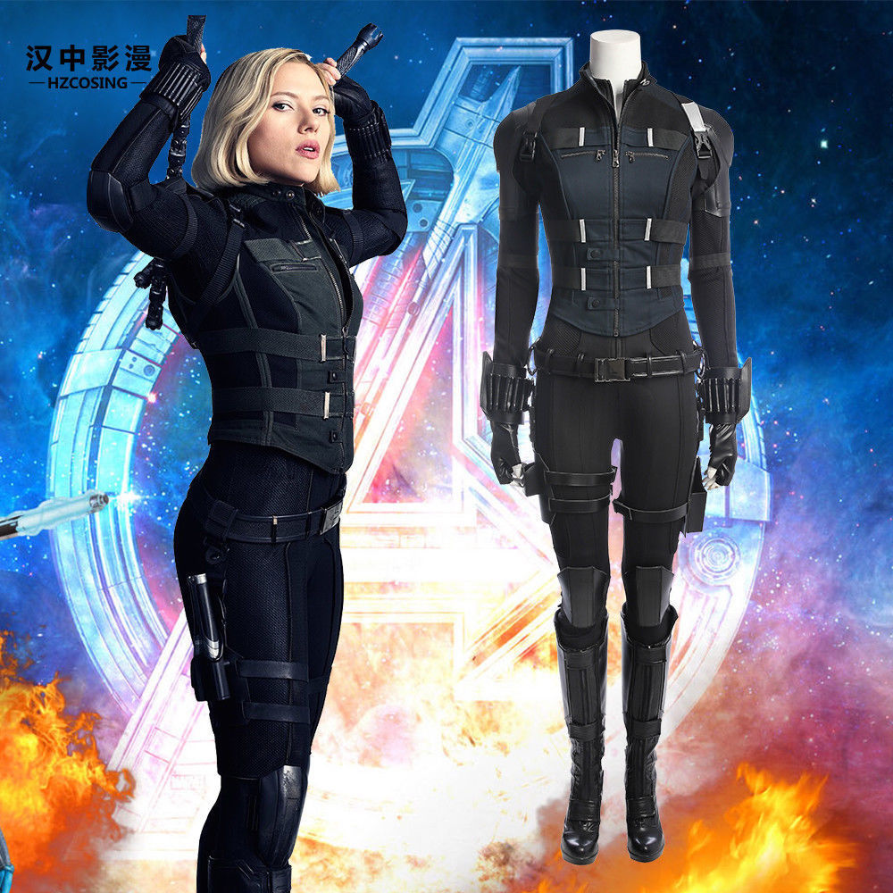 Avengers Infinity War Black Widow Costume Carnival Halloween Superhero Black Widow Cosplay Jumpsuit Natasha Romanoff Costume