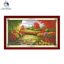 Joy Sunday Autumn Scene In Lotus Pond Counted Cross Stitch Set Print DIY Kit for Embroidery Needlework