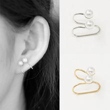 Double Pearl Wrap Ear Cuff Cartilage Clip On Earings No Piercing Earrings for Women Jewelry Brincos Bijoux Wedding Gift WD343 summer style snake ear cuff earrings for women monaco earings clip on ear fashion jewelry bijoux one set silver jewelry