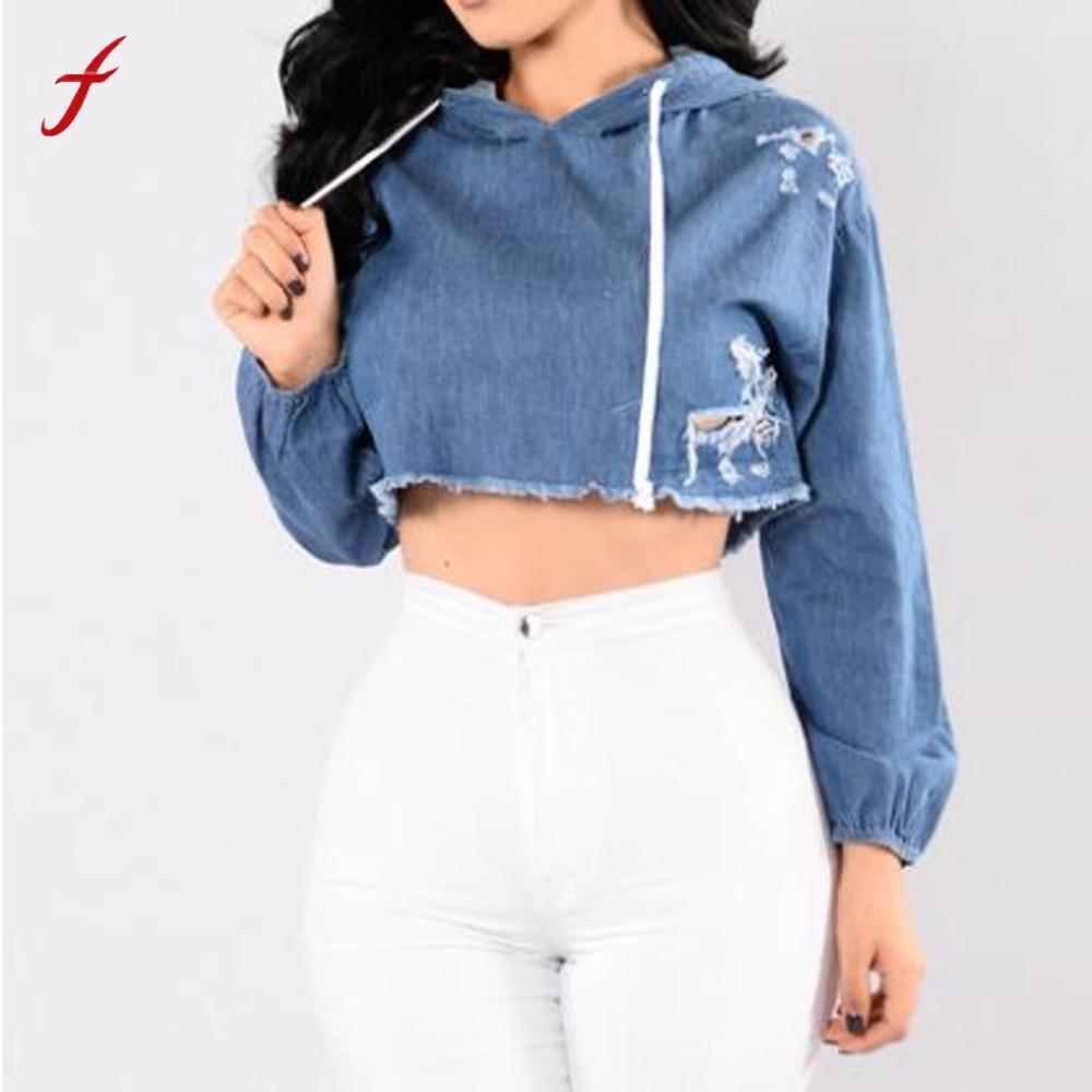 Casual Hoodie Sweatshirt Women Long Sleeve Jean Hoodie Hole Sweatshirt Tees Girls Hooded Pullover Casual Tops Womens Cloth