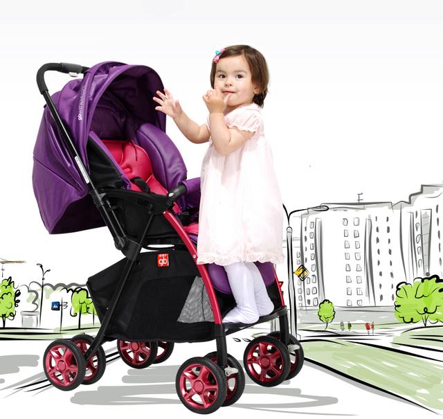 Luxo Macio de Alta Paisagem Carrinho de Bebê Portátil Peso Leve À Prova de Choque de Carro Do Bebê Pode Sentar Mentindo Dobrável Carrinhos para Recém-nascidos