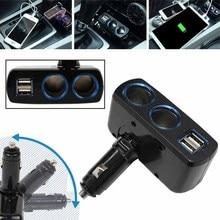 1pc Dual Ports USB Socket Splitter High Quality Car Charger Double Cigarette Lighter Socket Adapter Splitter