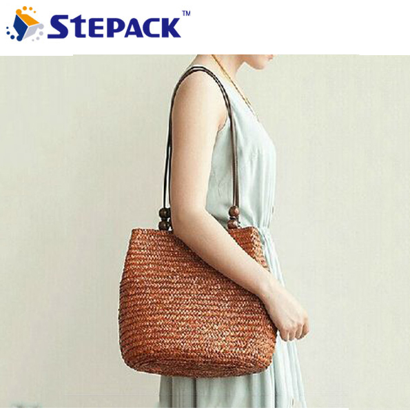 55857bafeab4 Europe United States Style New Wood Beads Wheat Straw Weaving Single  Shoulder Bag Package Beach Bag