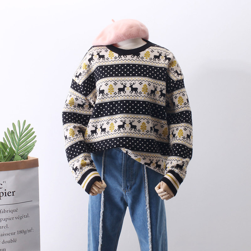Pullover 2018 Korea Winter Thickening Christmas Ancient Ways Easy Fawn Head Sweater Knitting Unlined Garment Woman Autumn And