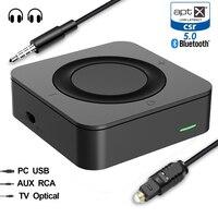 Bluetooth 5.0 csr8670 aptx baixa latência 3.5mm rca spdif transmissor óptico receptor transceptor áudio sem fio música tv adaptador Adaptador sem fio     -