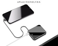 Mini Power Bank 10000mah Mirror Screen Fast Charging with cable Portable Charger External Battery for iphone xs xiaomi mi9