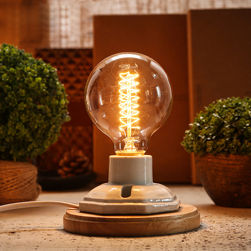 Industrial vintage edison wooden ceramics base socket e27 dimming industrial vintage edison wooden ceramics base socket e27 dimming table lamp cafe bar coffee shop hall store club bedside in desk lamps from lights aloadofball Images
