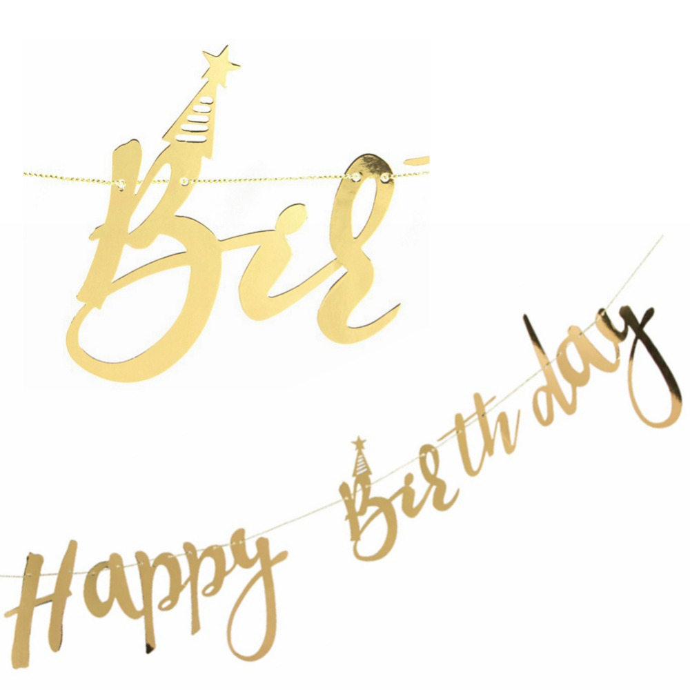 Gold Mirror Face Cursive Happy Birthday Banner With Star Hat 1st Glitter Party Photo Backdrop