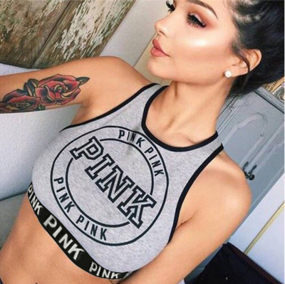 New Sexy Women Sleeveless Gray Bustier Summer Style Crop   Tank     Top   Casual Letter Pink Print Halter Slim Fit Vest   Tops   7C001
