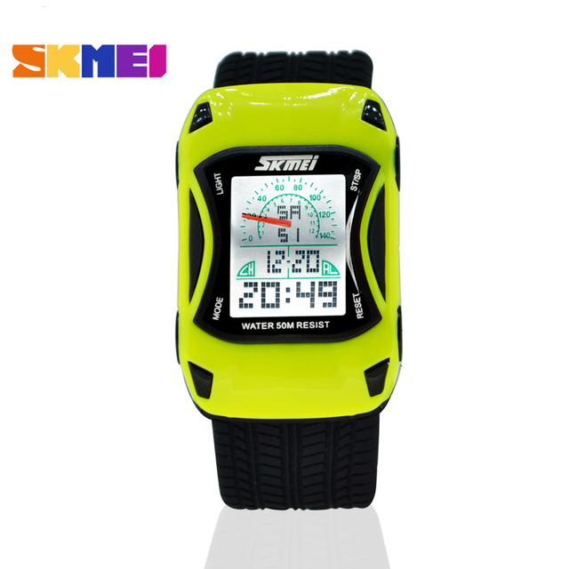 Children Car Cartoon Watch LED Digital Watches Waterproof Swim Jelly Silicone Ki