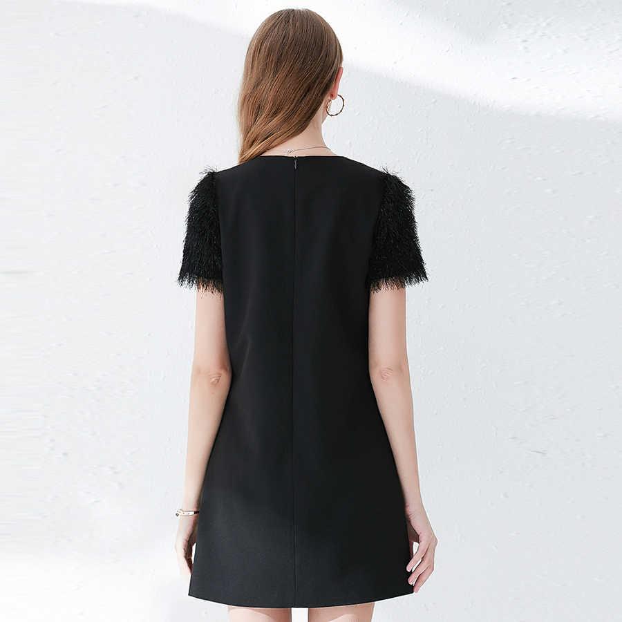 VERDEJULIAY 滑走路黒夏のドレスの女性 2019 ファッション新パッチワークタッセル毛深いビーズダイヤモンドミニドレス Vestidos