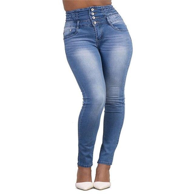 Naliha Women Denim Pants High Waisted Skinny Summer Plus Size Jeans Jeggings