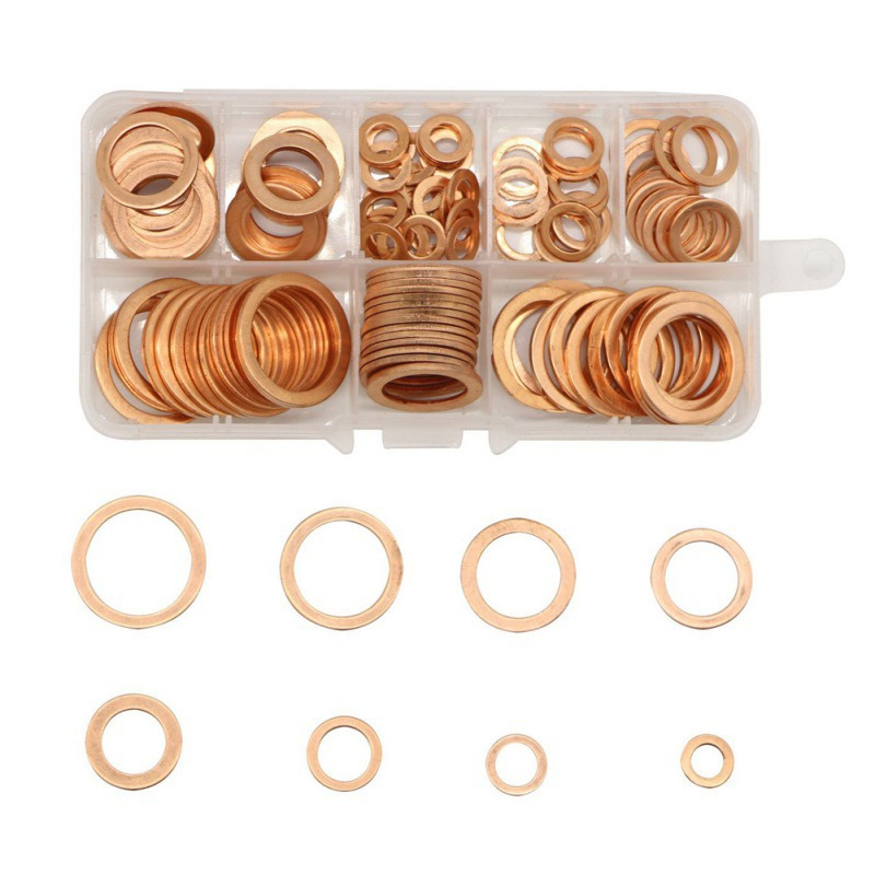 High Quality 200pcs/set Copper Washer Gasket Set Flat Ring Seal Assortment Kit with Box M5-M14 For Hardware Accessories 2018 100% copper die casting 15 11mm tower head studs with screw base for punk bags hardware high quality rivets accessories
