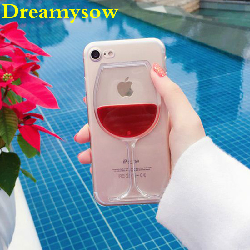 Hot Red Wine Glass Liquid Quicksand Transparent Phone Case Hard Back Cover For iPhone 5 5S SE 6 6S 7 7 8 Plus Housing Bags Cases