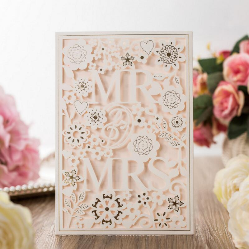 50pcs/pack White Hollow Laser Cut Romantic Wedding Invitations Card Personalized Custom Printable Wedding Event & Party Supplies 50pcs pack laser cut wedding invitations cards elegant flowers free printing birthday party invitation card casamento