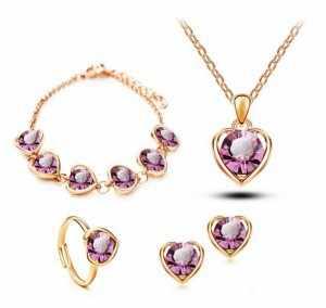 Venta al por menor clásico en forma de corazón para boda conjuntos de joyería Austrya cristal colgante collar pendiente de abrochar pulsera y anillo encanto joyería