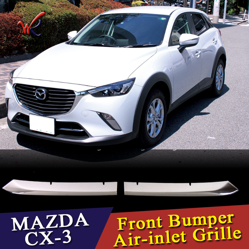 WK Car front grille trims for <font><b>mazda</b></font> <font><b>cx</b></font>-<font><b>3</b></font> <font><b>cx</b></font> <font><b>3</b></font> 2016 <font><b>2017</b></font> 2018 Front Bumper Air-inlet Grille,ABS chrome,2pc/lot,free shipping image