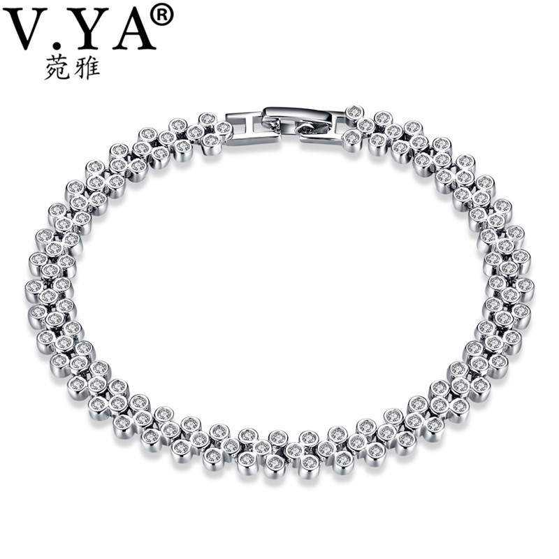 V.YA 925 Sterling Silver AAA Zircon Stone Bracelet For Women Luxury Femme Link Chain Bracelets & Bangle Top Quality Gift pulseira masculina buddha bracelets silver tone link chain bracelets bangle for mens jewelry gift good quality free shipping