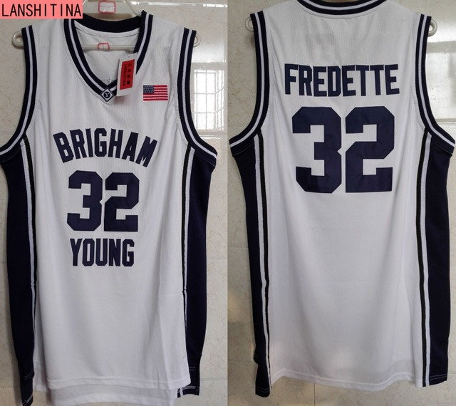 d584f9a44af3 ... LANSHITINA Cheap Throwback Basketball Jersey Jimmer Fredette 32 Brigham  Young BYU College Jersey White Black ...