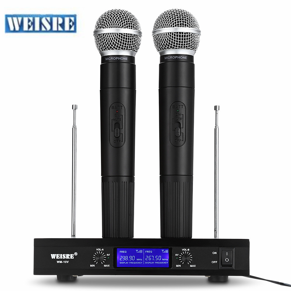 WEISRE VHF Wireless Microphone System Dual Channel Handhold Dynamic Cardioid Microphones for Karaoke Party Conference Wedding