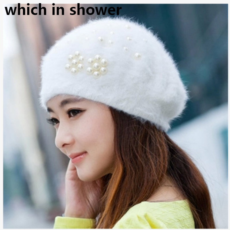 Fashion Pearl Wool Beret For Women Solid Warm Female Winter Hat Woolen Newsboy Cap Ladies French Style Autumn Painter Hat Gorras(China)