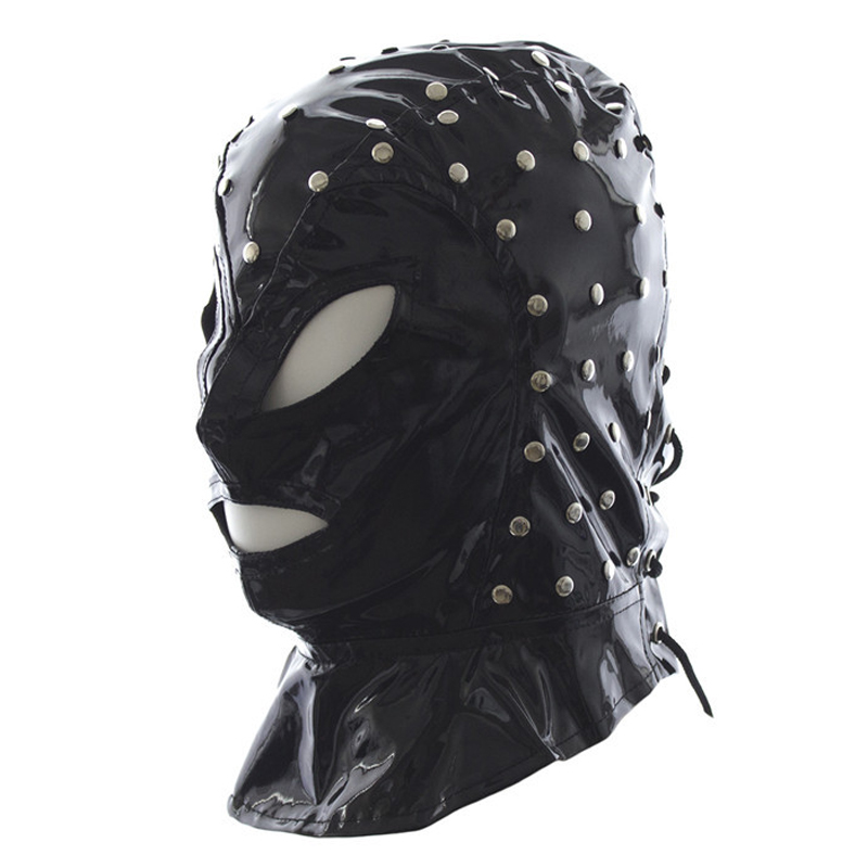 Buy Hot sale head bondage restraints leather hood cosplay training sex mask slave bdsm fetish wear headgear adult games products