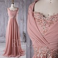 Custom Made Chiffon Lace Applique Beading Sleeves A Line Formal Evening Dresses Long Dress For Party