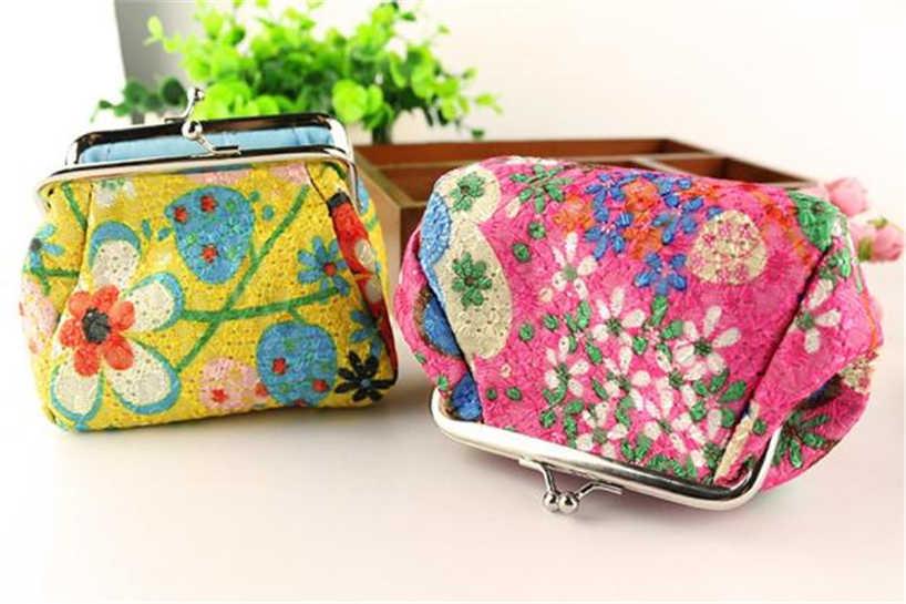 Aelicy mujer señora retro vintage flor pequeña cartera monedero corto embrague dinero cuadrado llavero bolsa tarjeta