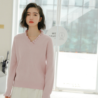 2019 Autumn Winter Sweater Women Solid Color V Neck Basic All match Knitted Sweater Pullover Women Jumpers Pink/Blue