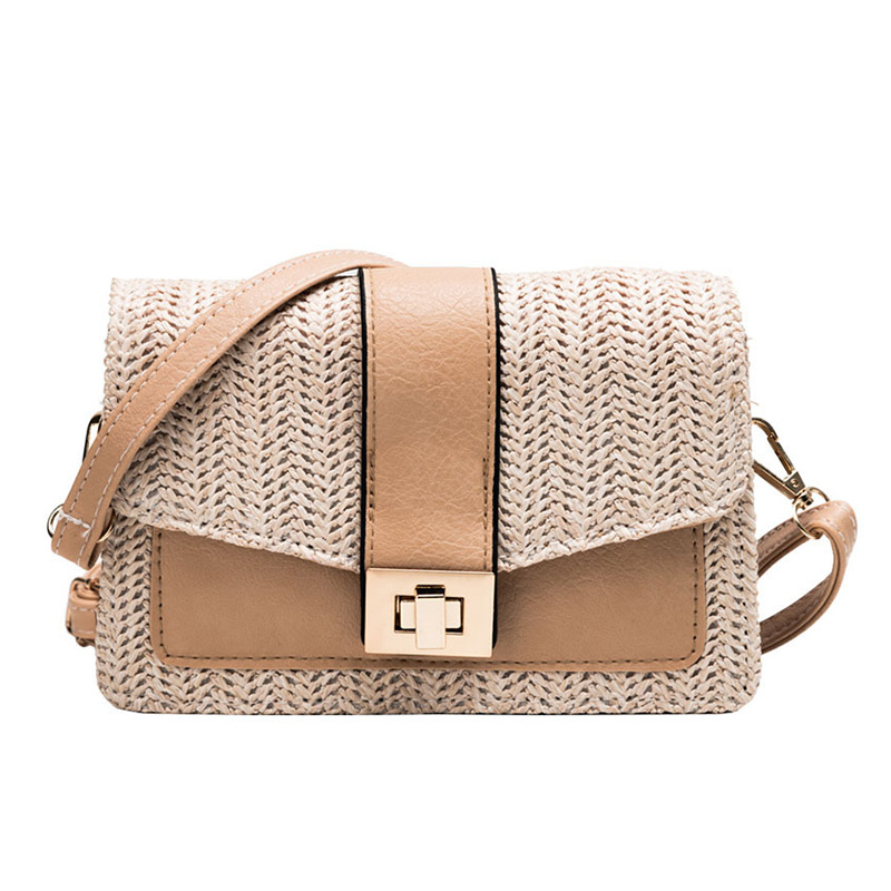 Straw Shoulder Bag Small Flap Crossbody sac for Women woven bag female retro beach Bolsos Rattan Bag PU wicker Bolsa Feminina in Top Handle Bags from Luggage Bags