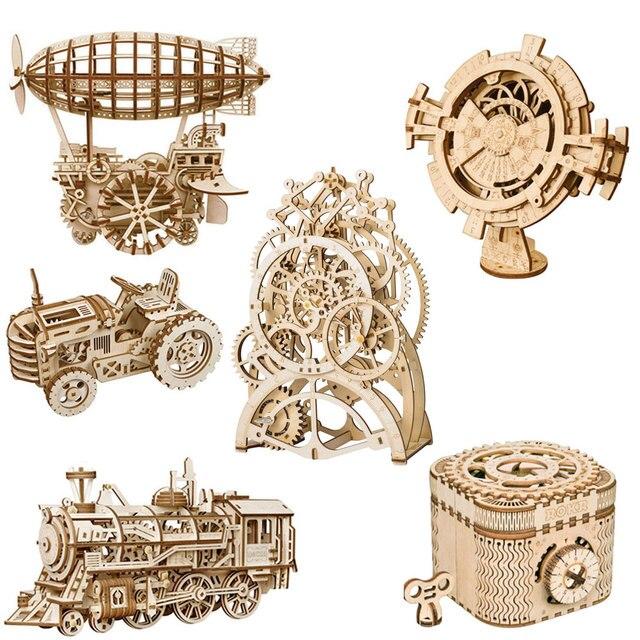 ROKR DIY 3D Unidade de Mecânico de Engrenagem Modelo Enigma De Madeira Brinquedos Modelo de Montagem Kit de Construção De Brinquedos de Presente para Crianças e Adultos Adolescentes