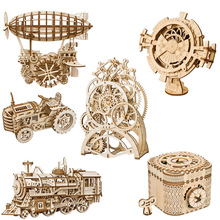 ROKR DIY 3D Wooden Puzzle Mechanical Gear Drive Model Toys Assembly Model Building Kit Toys Gift for Children Adult Teens цены онлайн