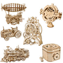 Robotime DIY 3D Wooden Puzzle Mechanical Gear Drive Model Toys Assembly Model Building Kit Toys Gift for Children Adult Teens(China)