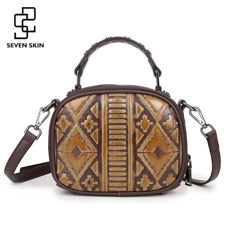 SEVEN SKIN Brand 2017 New Women Messenger Bags Genuine Leather Tote Bag Female Luxury Handbag Vintage Small Mini Shoulder Bags women vintage composite bag genuine leather handbag luxury brand women bag casual tote bags high quality shoulder bag new c325