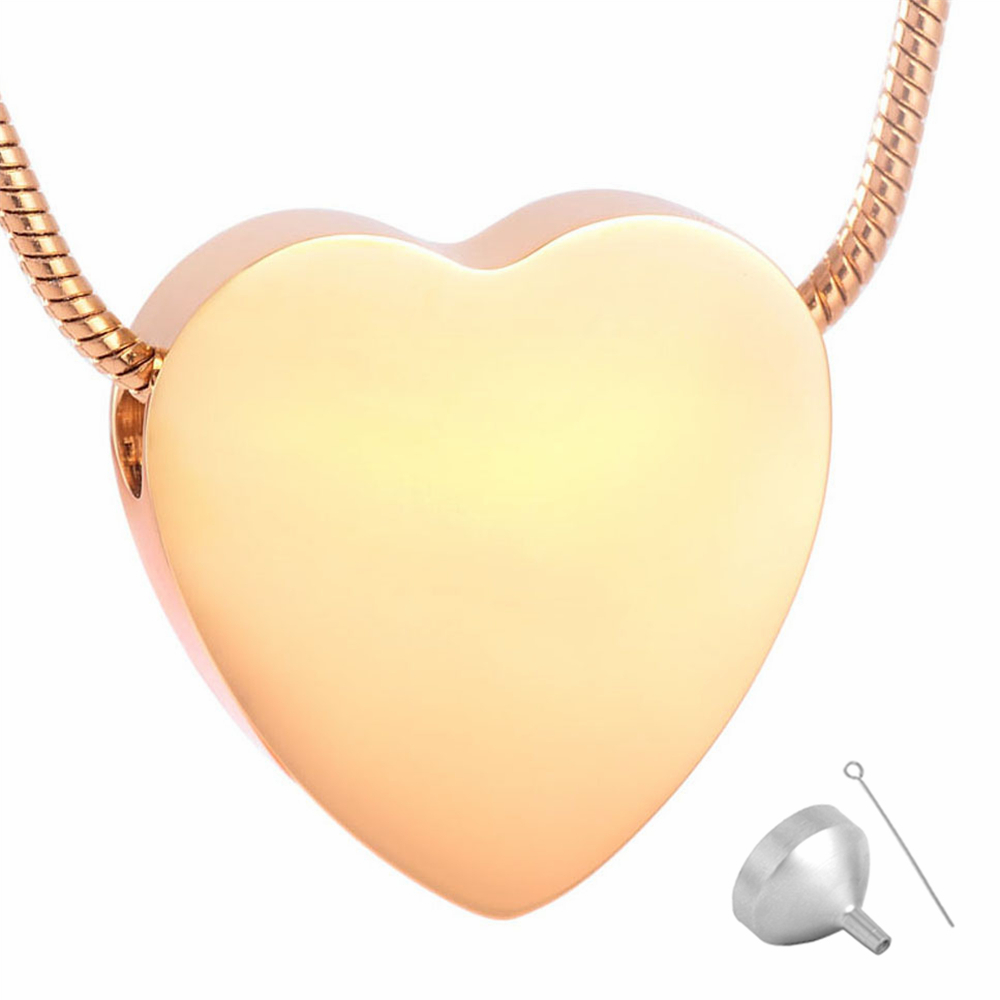 MJD8384  Plain Through Heart Urn Pendant - Memorial Ash Cremation Jewellery