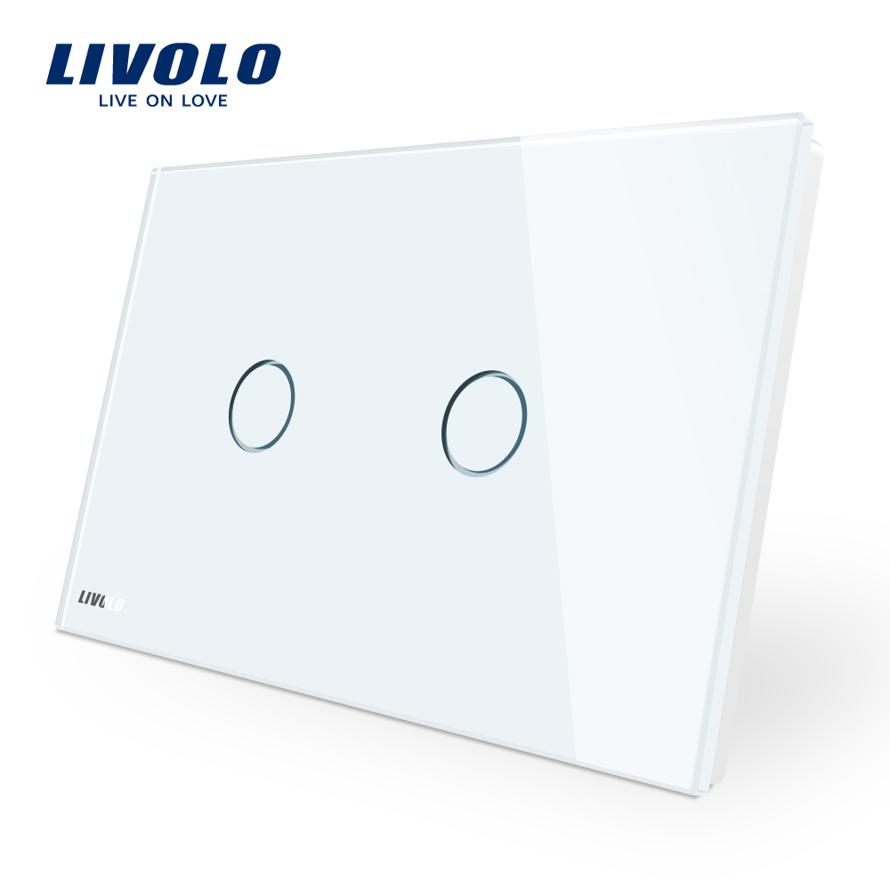 LIVOLO interruptor de pared, 110 ~ 250 V, Panel de cristal blanco de marfil, AU/US estándar Interruptor táctil VL-C902-11 con indicador LED