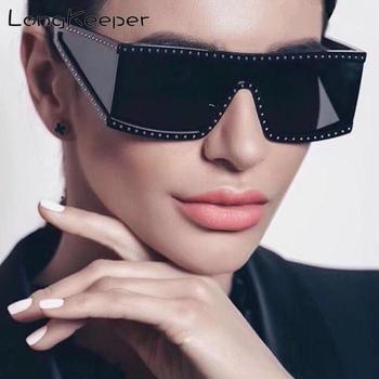 LongKeeper brand designer women's sunglasses Retro Crystal Steampunk Eyewear Men mirror de sol de los hombres UV400 hombres de honor