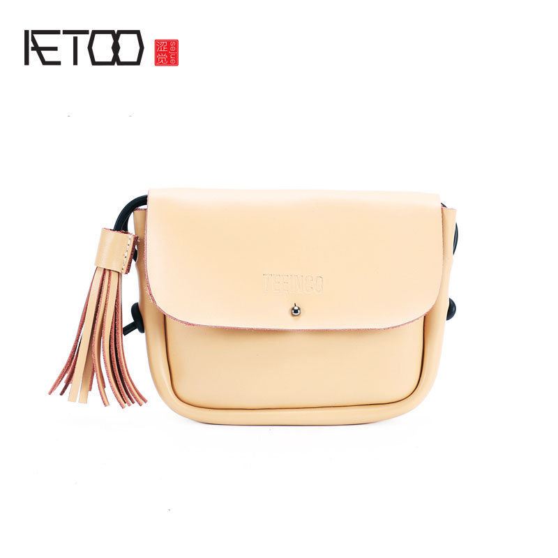 AETOO New Korean version of the simple leather mini bag retro tassel shoulder Messenger bag phone aetoo leather bucket bag female messenger bag 2017 new korean version of the drawstring bucket baotou layer of leather simple le
