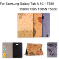 PU Leather Cover Case for Samsung Galaxy Tab A 10.1 2016 T580 T585 T580N T585N T585C Wallet Card Holder Case + Screen+Film + Pen