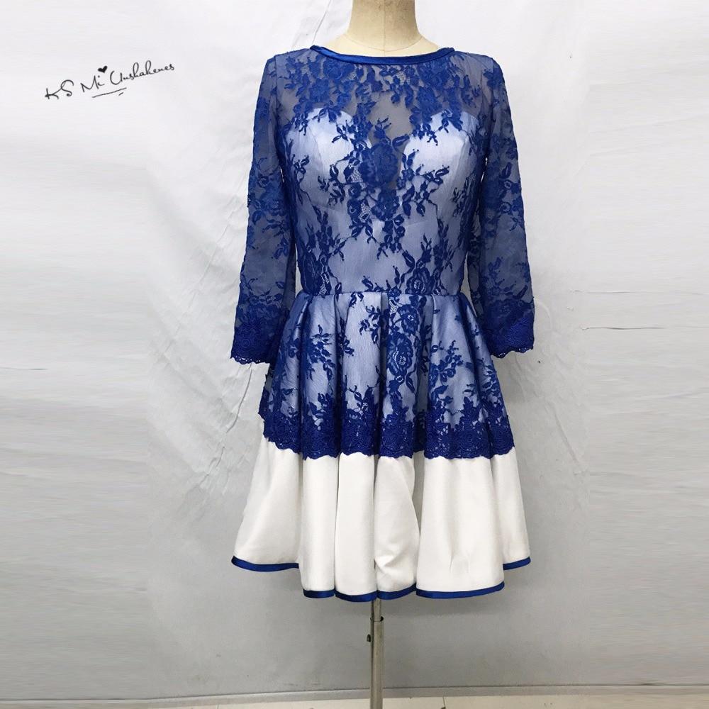 Robe de   Cocktail   Vestido de Festa Curto Royal Blue Lace   Cocktail     Dresses   2017 Short Party Homecoming   Dress   Organza Half Sleeve