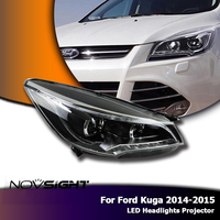NOVSIGHT 2PCS Car LED Light Projector Headlight DRL Fog Light Bi Xenon Lens For Ford Kuga 2014 2015 Car Light Assembly