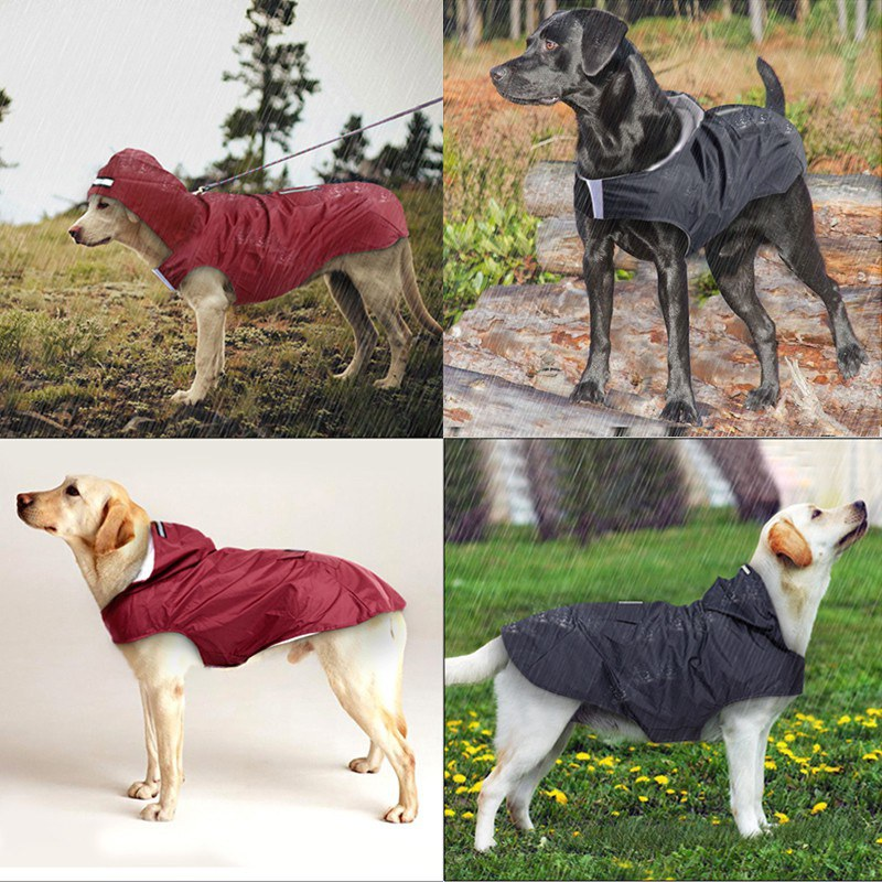 Pet Reflective Super Waterproof Hooded Raincoat Wear-resistant Not Deformed Pet Poncho S-5XL For Medium Large Dogs