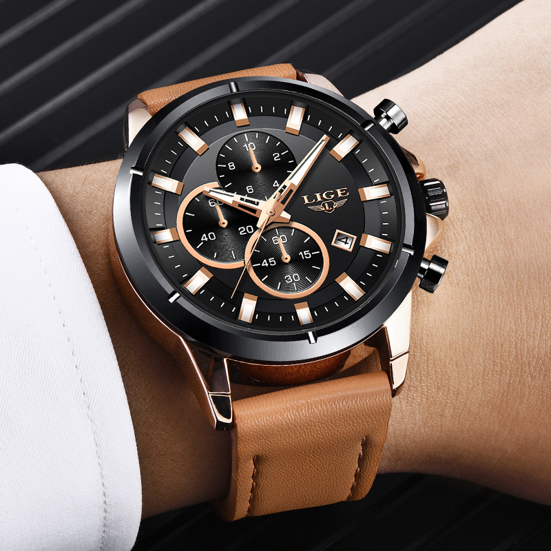 LIGE New Watches Men Luxury Brand Quartz Watch Fashion Chronograph Watch Relojes Hombre Sports Clock Male Hour Relogio Masculino in Quartz Watches from Watches